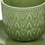 Kép 8/8 - Csésze Tányérral Natural (11 X 11 x 7 cm) Szín  Zöld