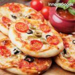 Kép 7/8 - InnovaGoods Presto! Minipizza Sütő Receptkönyvvel 700W Piros Fekete