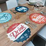 Kép 1/6 - Retro Asztalterítő - Üdítős kupak mintázat