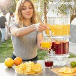 Kép 1/8 - Dupla ital adagoló jégrekeszekkel és snack tálcával TwinTap InnovaGoods