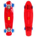 Kép 2/2 - Gördeszka (55 cm), piros, kék kerekekkel