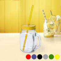 Befőttesüveg Fedéllel és Szívószállal (500 ml) 145494 Szín  Sárga