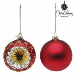Karácsonyfagömb, Piros, 2db, 8cm átmérő