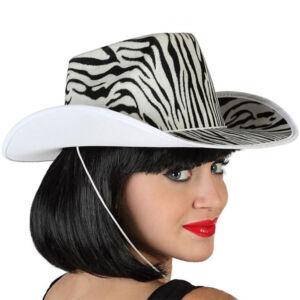Cowboy kalap Zebra Fehér Fekete 115204
