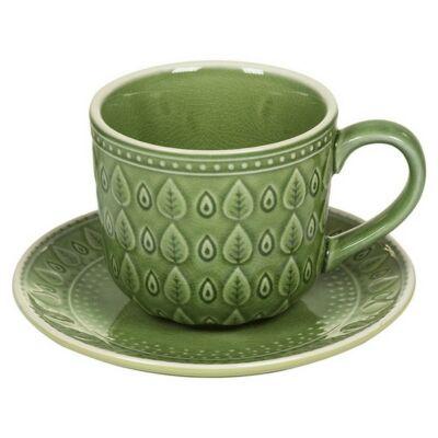 Csésze Tányérral Natural (11 X 11 x 7 cm) Szín  Zöld