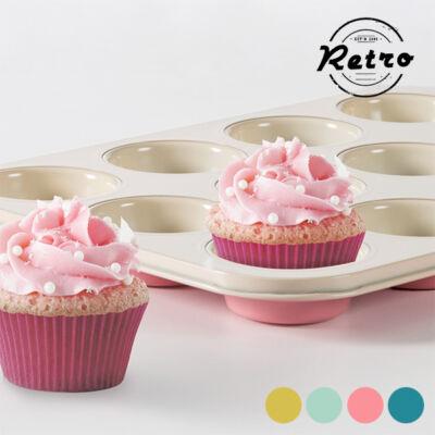 Vintage Cupcake Forma Retro Szín  Sárga