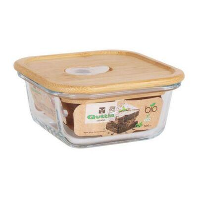 Négyzet alakú ebéd doboz fedéllel Quttin Kristály Bambusz Kapacitás 300 cc