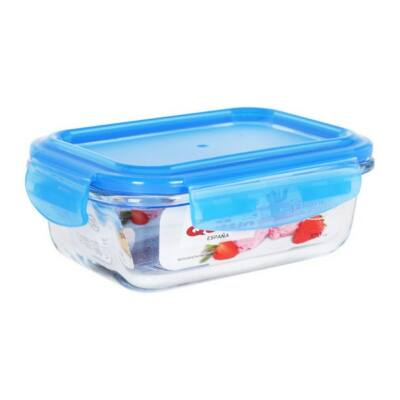 Hermetikus ebéddoboz Quttin Négyszögletes Kristály Kék Kapacitás 370 cc -15,7 x 11,7 x 5,8 cm