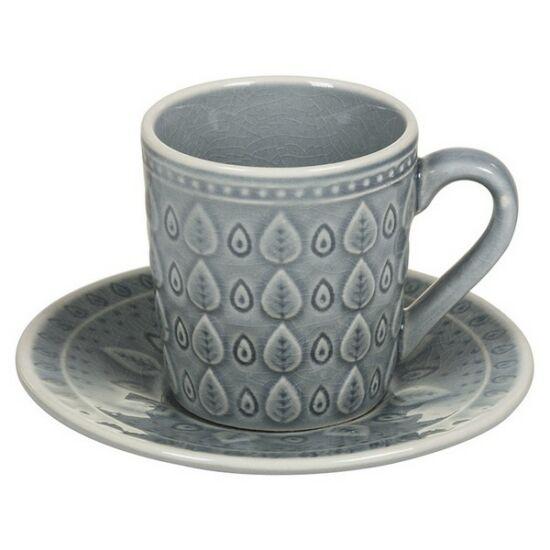 Csésze Tányérral Natural (15 X 15 x 10 cm) Szín  Kék