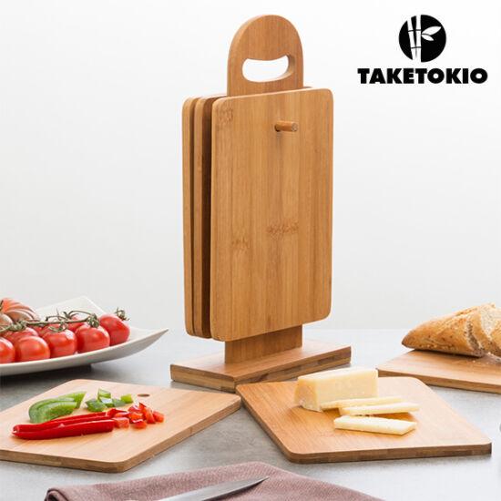 TakeTokio Bambusz Vágódeszka Készlet Állvánnyal (7 darabos)