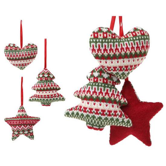 Karácsonyfadísz, 12cm, textil