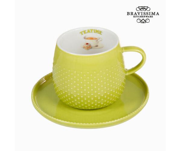 Csésze zöld alátéttel - Kitchen's Deco Gyűjtemény by Bravissima Kitchen