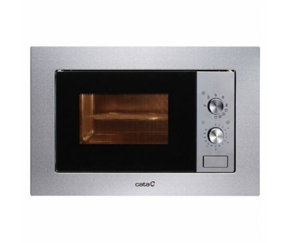Cata MC20IX, Beépíthető Mikrohullámú sütő Grill funkcióval, 20 L, 800W, Rozsdamentes acél