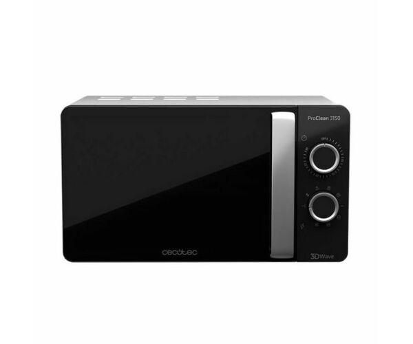 Cecotec ProClean 3150, Mikrohullámú Sütő Grillsütővel, 20 L, 700W, Fekete Ezüst színű