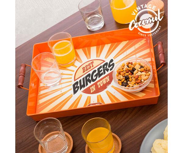 Vintage Food Fémtálca Minta  Best Burgers