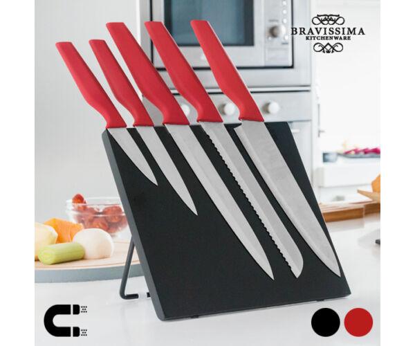 Bravissima Kitchen Kések Mágneses Tartóval (6 darab) Szín  Piros
