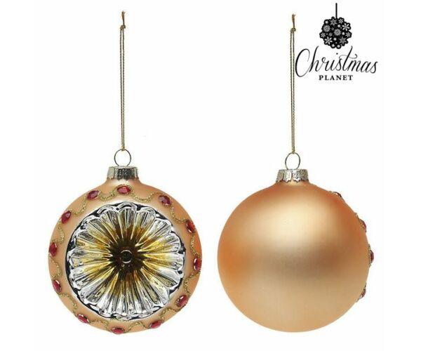 Karácsonyfagömb, 2db, 8cm átmérő, Aranysárga