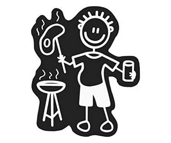 Car Sticker Family Men Barbecue asztal