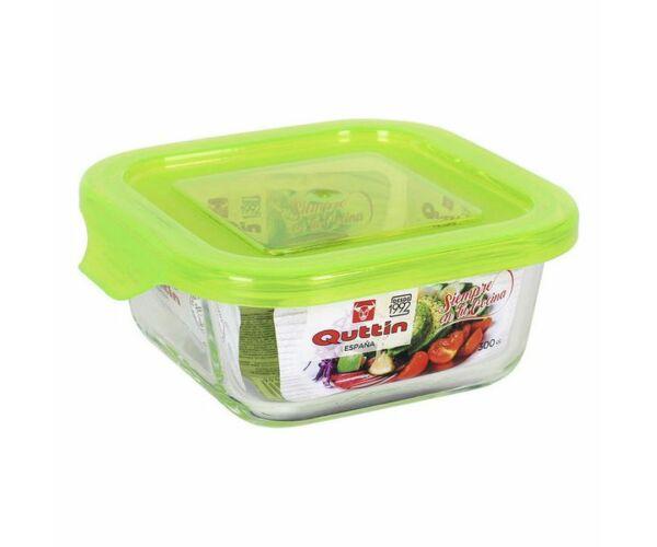 Négyzet alakú ebéd doboz fedéllel Quttin Méret 300 cc - 12 x 12 x 5,8 cm