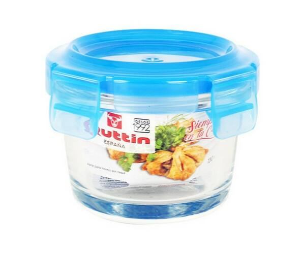Hermetikus ebéddoboz Quttin Kör alakú Kristály Kék Kapacitás 970 cc- Ø 18 x 7,7 cm