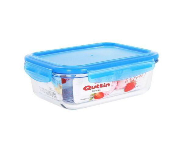 Hermetikus ebéddoboz Quttin Négyszögletes Kristály Kék Kapacitás 1500 cc - 23,2 x 17,7 x 7,7 cm