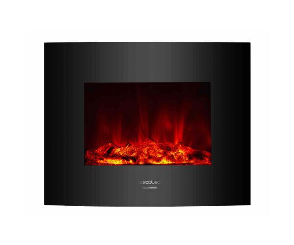 Fali dekoratív kandalló Cecotec Warm 2600 Curved Flames 2000W, Fekete