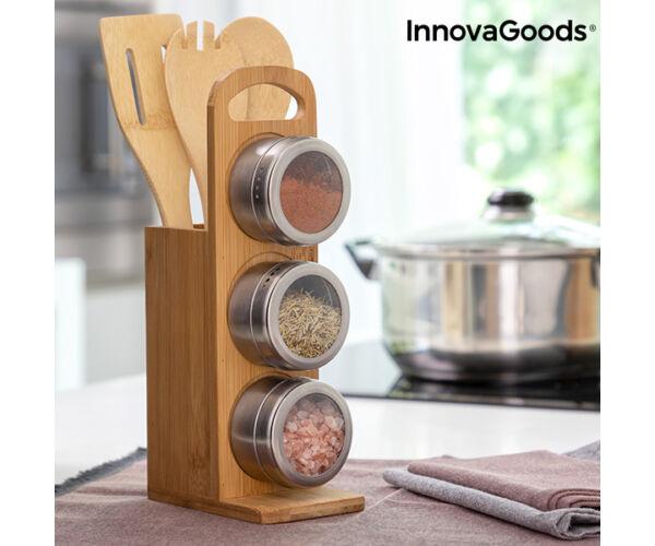 Mágneses fűszertartó készlet bambusz edényekkel Bamsa InnovaGoods 7 Darabok