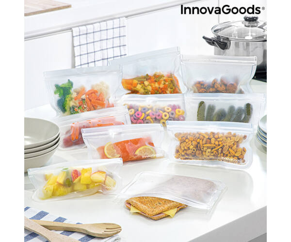 Újrafelhasználható élelmiszerzsák készlet Freco InnovaGoods 10 Darabos