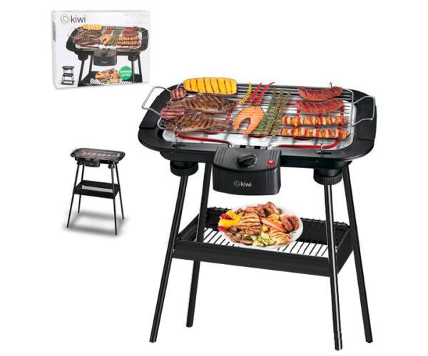 Barbecue Kiwi 2000W (38 x 22 cm) Elektromos Fekete