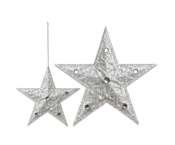 Karácsonyfadísz, 10 cm, 3db, Ezüst színű