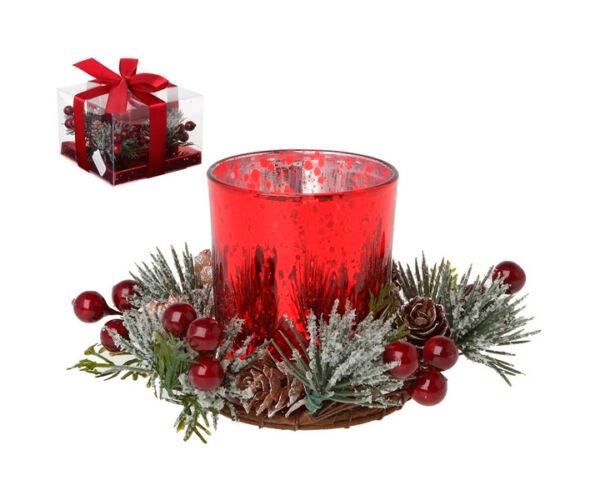 Karácsonyi gyertyatartó, Piros