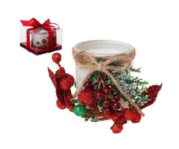 Karácsonyi gyertyatartó, fehér
