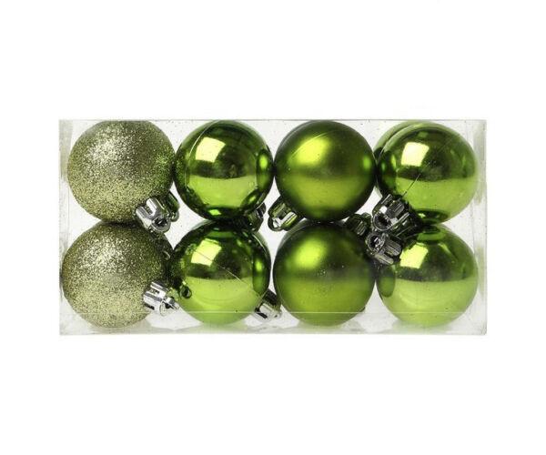 Karácsonyfagömb, 16db, Zöld
