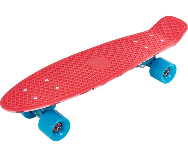 Gördeszka (55 cm), piros, kék kerekekkel